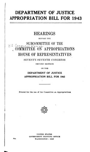 Hearings  Justice  Dept  Of