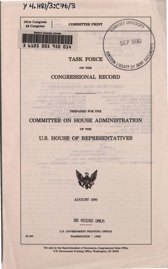 Task Force on the Congressional Record PDF