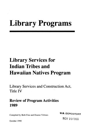 Library Services for Indian Tribes and Hawaiian Natives Program