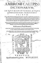 Dictionarium latinae italicae gallicae et hispanicae ...