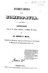 Exámen crítico de la homeopatía: Lecciones dadas en el Ateneo Científico y Literario de Madrid, Volumen 2