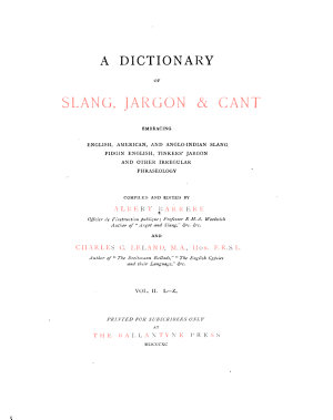 A Dictionary of Slang, Jargon & Cant