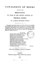 Catalogue Of Books For The Year Mdcccxxxiv On Sale At The Prices Affixed By Thomas Rodd Book PDF