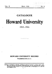 Catalogue of the Officers and Students of Howard University, District of Columbia