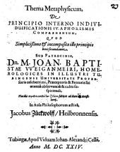 Thema metaphys. de principio interno individuificationis ...