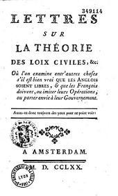 Lettres sur la théorie des loix civiles