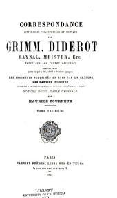 Correspondance littéraire: Volume13
