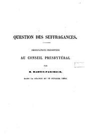 Question des suffragances: observations présentées au Conseil presbytéral