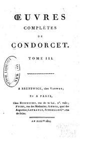 Oeuvres complètes de Condorcet: Volume3