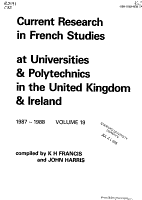 Current Research in French Studies at Universities and University Colleges in the United Kingdom PDF