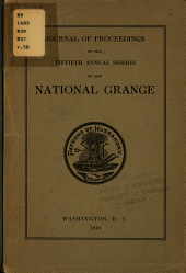 Journal of Proceedings of the National Grange of the Patrons of Husbandry: Volume 50