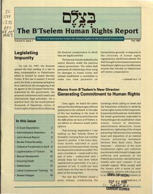 The B tselem Human Rights Report PDF