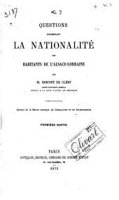 Questions concernant la nationalité des habitants de l'Alsace-Lorraine