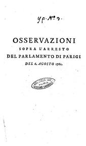 Osservazioni sopra l'arresto del Parlamento di Parigi del 6. agosto 1761
