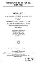 Formulation of the 1995 Farm Bill PDF