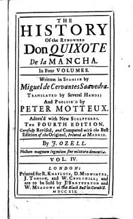The History of the Renowned Don Quixote de la Mancha      by Miguel de Cervantes Saavedra  Translated by Several Hands  and Publish d by Peter Motteux  Adorn d with New Sculptures      Book