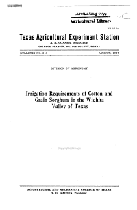 Irrigation Requirements of Cotton and Grain Sorghum in the Wichita Valley of Texas