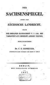 Der Sachsenspiegel oder das Sächsiche Landrecht