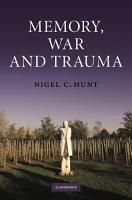 Memory  War and Trauma PDF