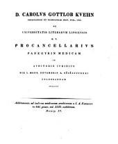 D. Carolvs Gottlob Kvehn [...] Procancellarivs panegyrin medicam in avditorio ivridico die I. mens. novembris a. MDCCCXXXI celebrandam indicit