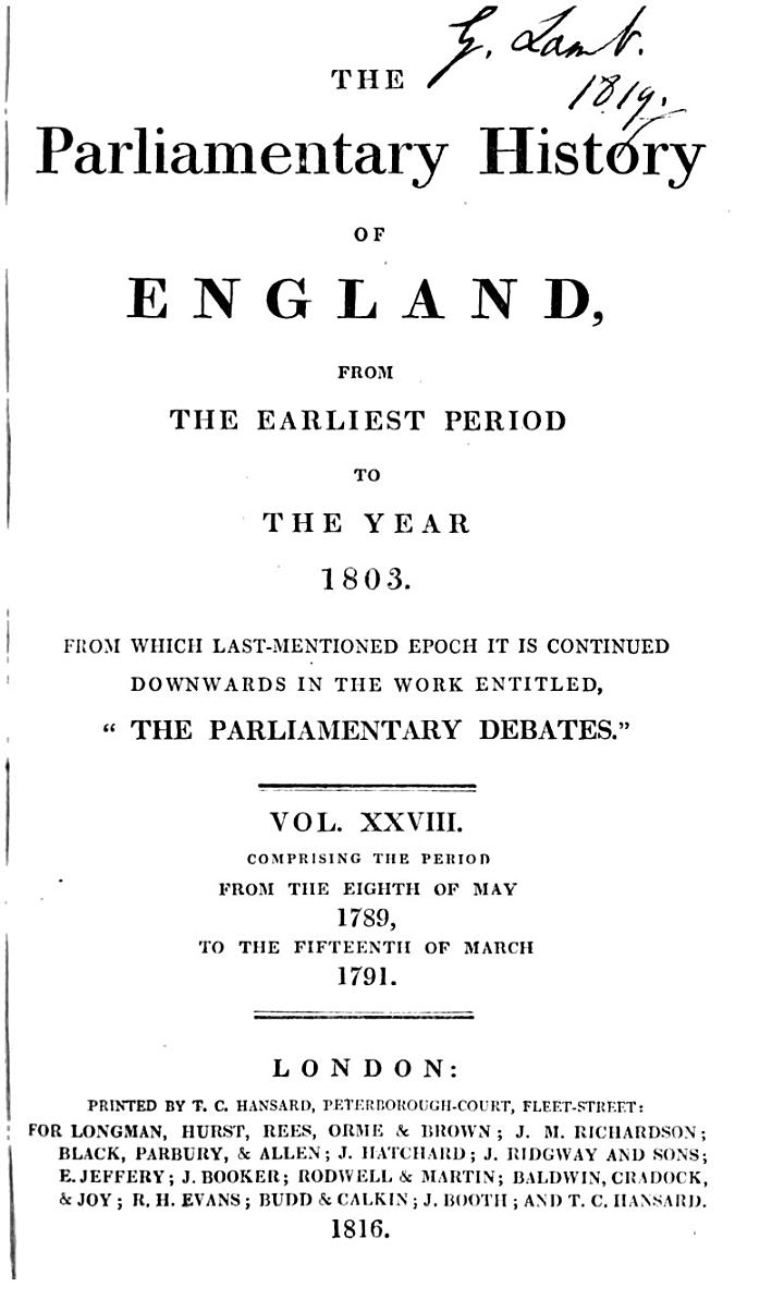 Cobbett's Parliamentary History of England from the Norman Conquest in 1066, to the Year 1803, from which Last-mentioned Epoch it is Continued Downwards in the Work Entitled,
