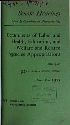 Hearings  Reports and Prints of the Senate Committee on Appropriations