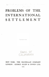 Problems of the International Settlement