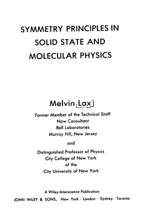 Symmetry Principles in Solid State and Molecular Physics PDF