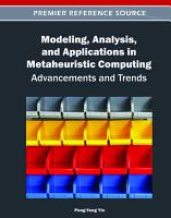 Modeling  Analysis  and Applications in Metaheuristic Computing  Advancements and Trends PDF