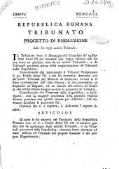 Progetto di risoluzione sulle liti degli antichi tribunali