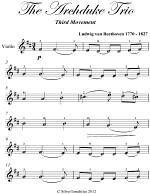 Archduke Trio Third Movement Easy Violin Sheet Music
