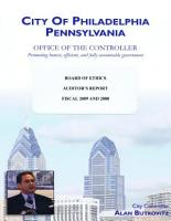 City of Philadelphia  PA  Office of the Controller  Board of Ethics  Auditor   s Report  Fiscal 2009 and 2008 PDF