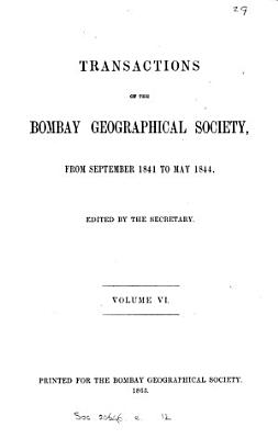 Transactions of the Bombay Geographical Society PDF