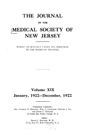 Journal of the Medical Society of New Jersey: Volume 19