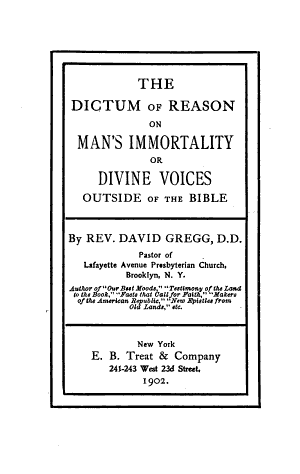 The Dictum of Reason on Man s Immortality PDF