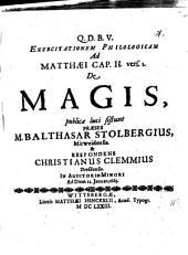 Exercitatio philol. ad Matth. II,1, de magis