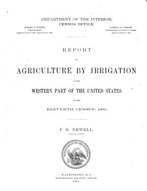 Report on Agriculture by Irrigation in the Western Part of the United States PDF