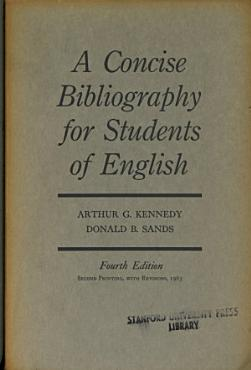 A Concise Bibliography for Students of English PDF
