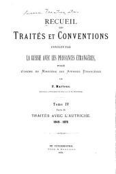 Recueil des traités et conventions: conclus par la Russie avec les puissances étrangères, Volume4,Partie2