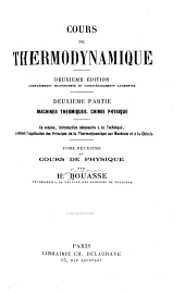 Cours de thermodynamique: Volume 2