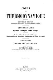 Cours de thermodynamique: Volume2