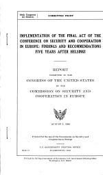 Implementation of the Final Act of the Conference on Security and Cooperation in Europe