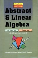 Kirshna s Series  Abstract and Linear Algebra PDF