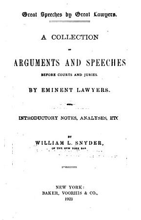 Great Speeches by Great Lawyers PDF