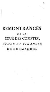 Remontrances De La Cour Des Comptes, Aydes Et Finances De Normandie