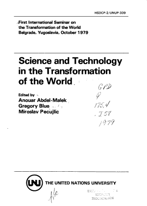 Science and Technology in the Transformation of the World PDF