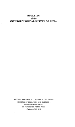 Bulletin Of The Anthropological Survey Of India