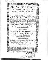 De Avtoritate Ecclesiae Et Eivsdem Ministrorvm Legitima Vocatione Brevis Dispvtatio