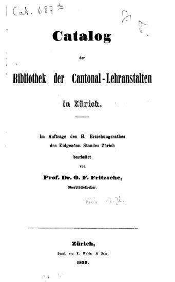 Catalog der Bibliothek der Cantonal Lehranstalten in Z  rich PDF