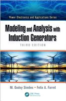 Modeling and Analysis with Induction Generators PDF